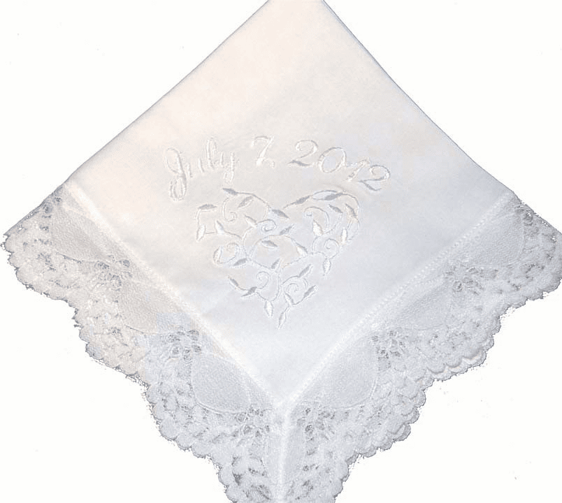 Custom Wedding Embroidered Floral Vine Heart White Lace Handkerchief