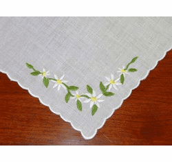 Daisy Embroidered Corner Handkerchief Personalize Me
