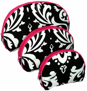 Nesting Damask 3-Piece Nesting Cosmetic Set With Hot Pink Trim