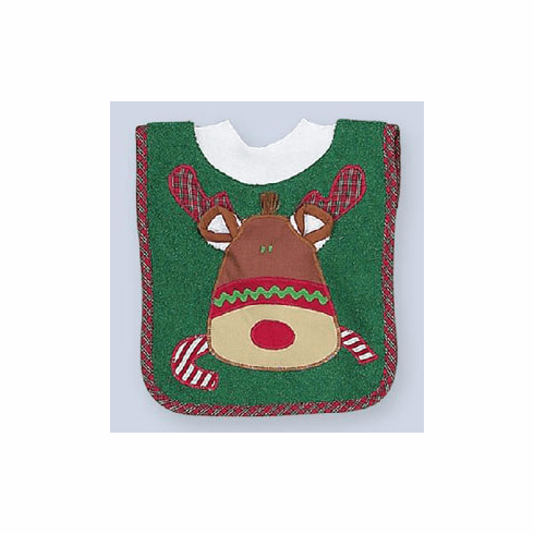Darling Personalized Reindeer Holiday Bib with Removable Washcloth