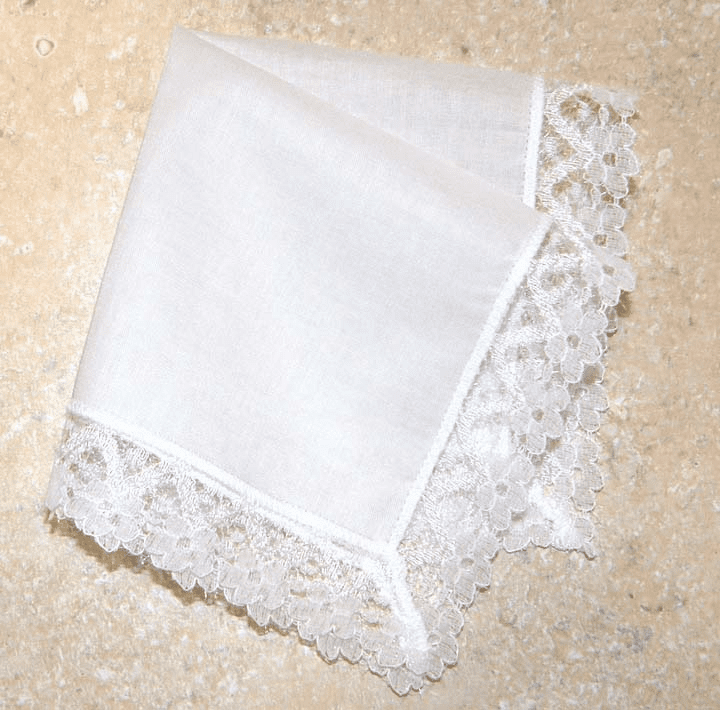 Delicate White Lace 100% Cotton Bridal Handkerchief