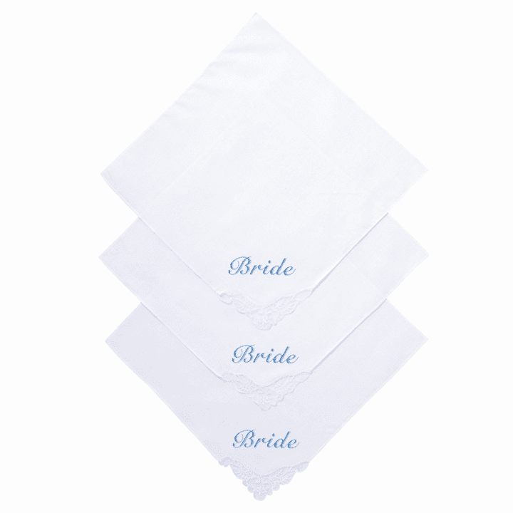 Delicate White Lace Corner 100% Cotton Bride Handkerchief