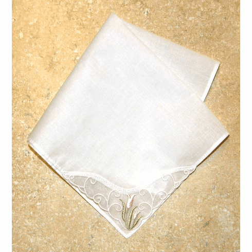 Delicate White Lace Corner with Light Pink Tulip Embroidery