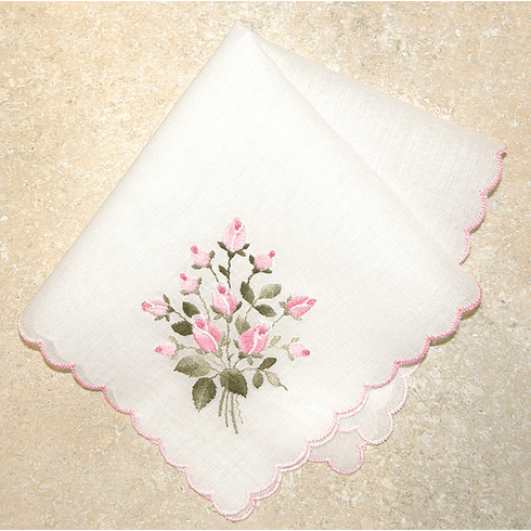 Delicate White Pink Rose Floral Embroidered 100% Cotton Handkerchief