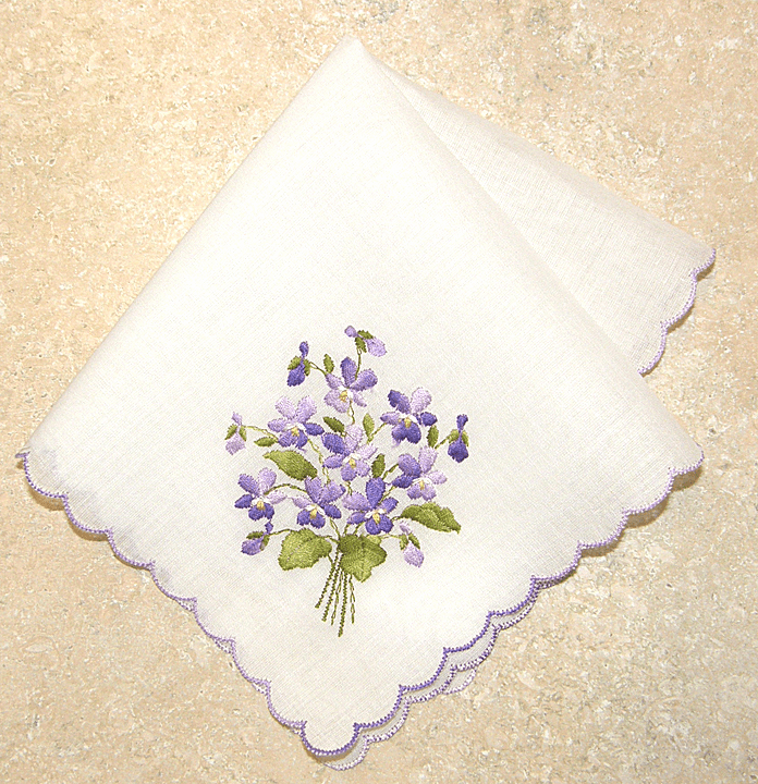 Delicate White Purple Forget Me Not Floral Embroidered 100% Cotton Handkerchief