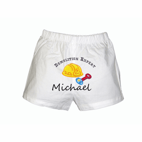 Demolition Baby  Personalized Baby Infant Boxers White