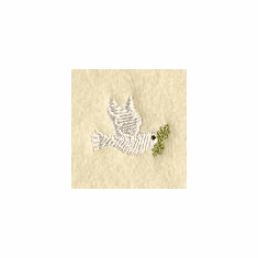 Dove with Olive Branch Handkerchief Embroidery Design hank40