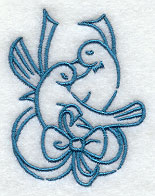 Doves Wedding Handkerchief Embroidery Design hank16