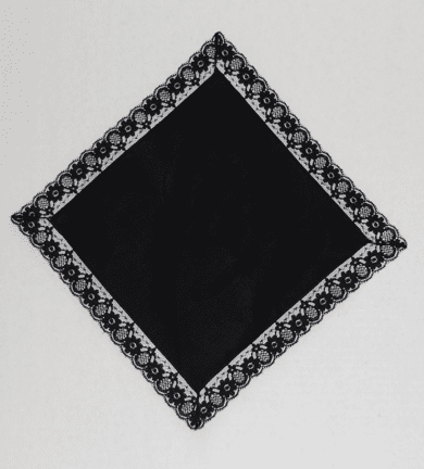 Ebony Lace Border Handkerchief