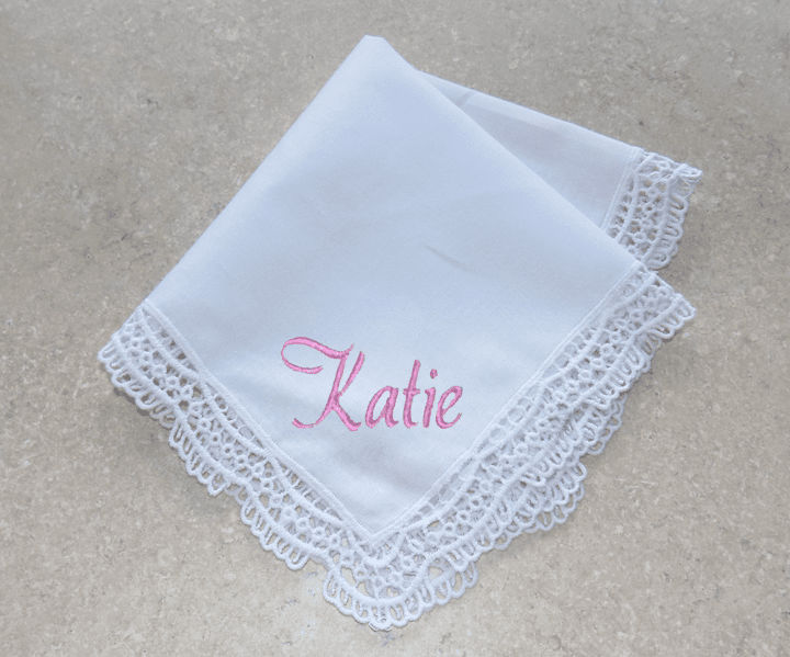 Elegant White Lace 100% Cotton Halo & Eyelet Wedding Handkerchief
