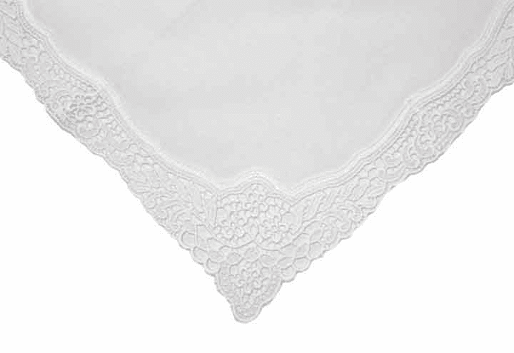 Elegant White Wedding Cotton Handkerchief with Guipure Lace
