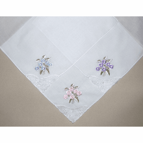 Embroidered Floral Lace Corner Ladies' Handkerchief Blue, Pink, Lavender
