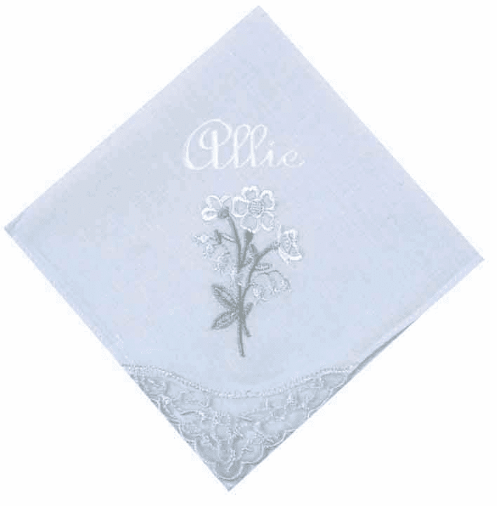 Embroidered Floral Lace Corner Pastel Blue Ladies' Handkerchief