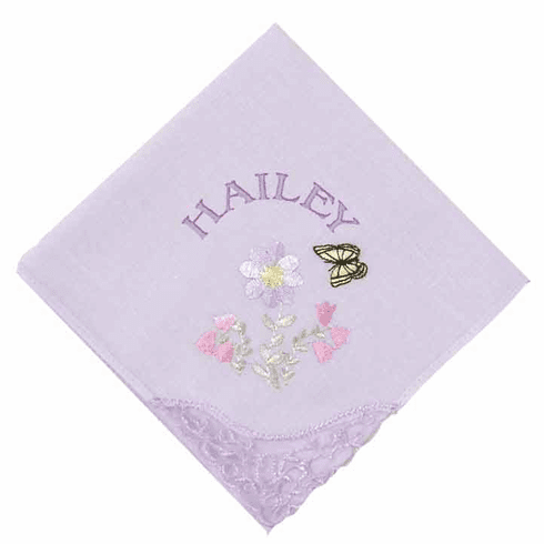 Embroidered Floral Lace Corner Pastel Lavender Ladies' Handkerchief