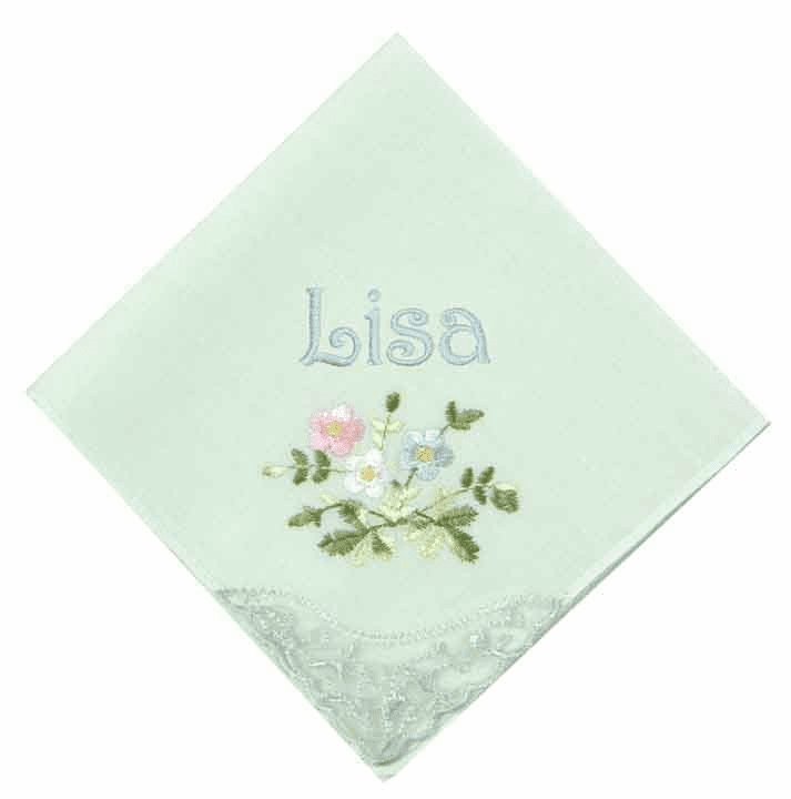 Embroidered Floral Lace Corner Pastel Mint Ladies' Handkerchief
