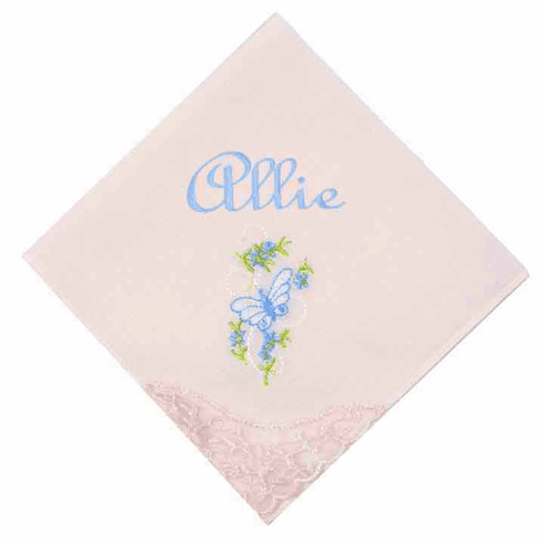 Embroidered Floral Lace Corner Pastel Pink Ladies' Handkerchief