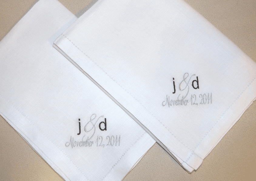 Embroidered Men's Wedding Handkerchiefs