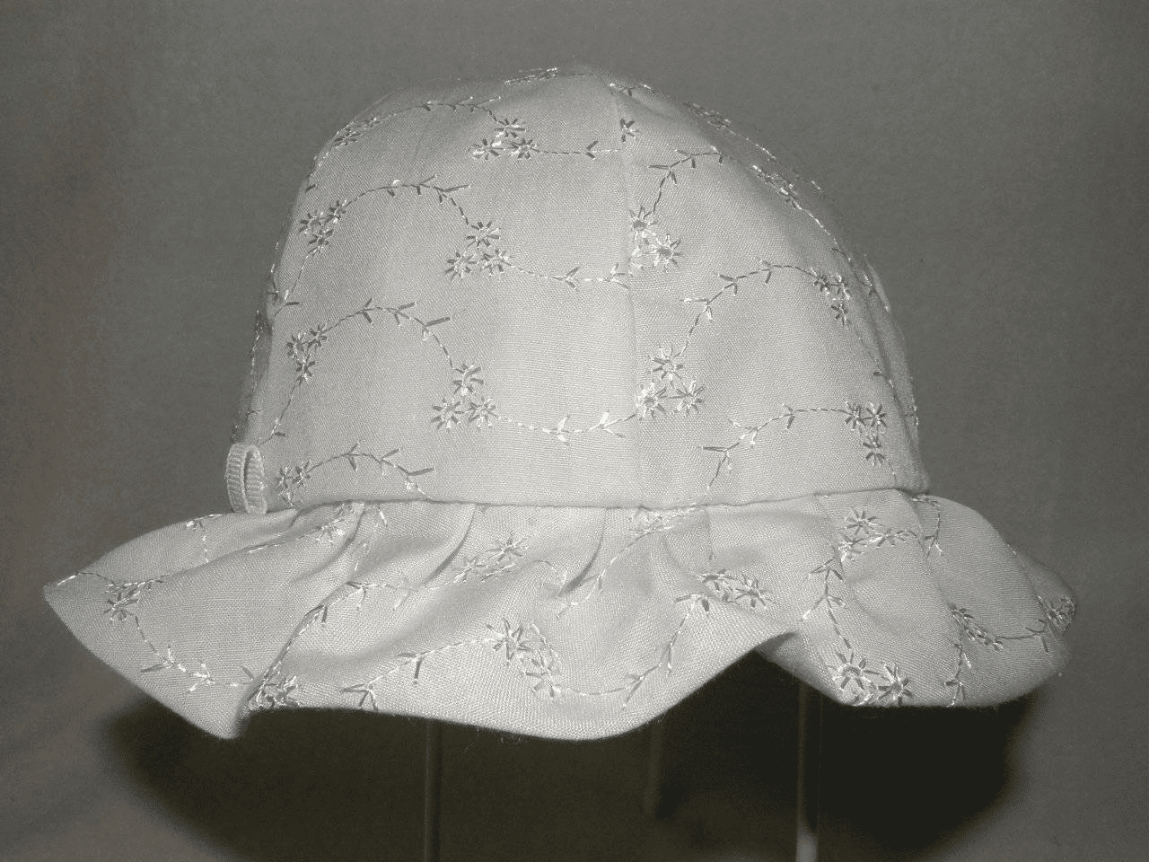Clearanced Priced White Eyelet Lace Ruffled Baby Sunbonnet