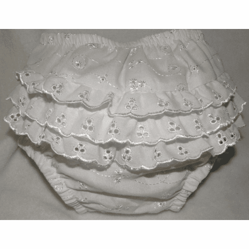 Eyelet LaceWhite Ruffled Baby Bloomers, Panties, Diaper Cover