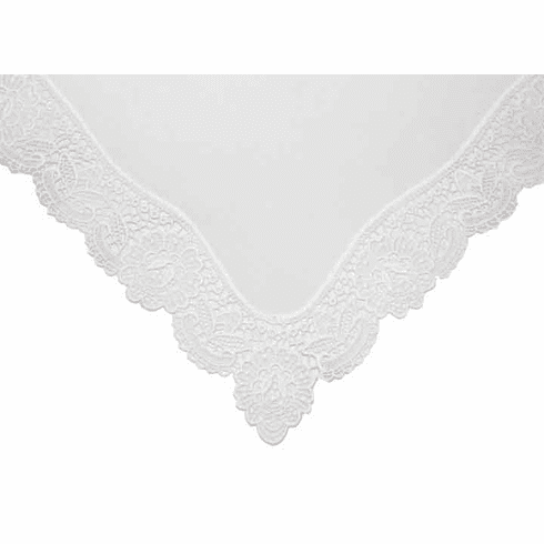 Fancy Four Corners Rose Guipure Lace White Wedding Handkerchief