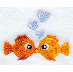 Fishy Kisses Handkerchief Embroidery Design hank14