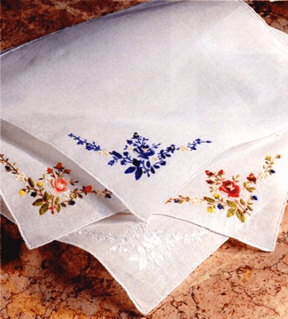 Floral Embroidered Ladies' Handkerchief