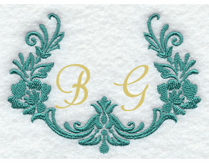 Floral Frame Handkerchief Embroidery Design hank18