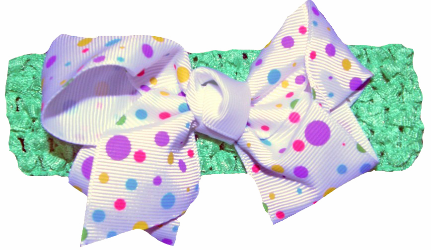 Fun Dots Large Bow and Lime Crochet Style Headband