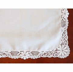 German Guipure Lace Trim White Cotton Handkerchief