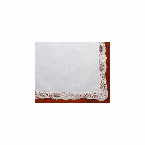 German Guipure Lace Trimmed Ecru / Ivory Wedding Handkerchief