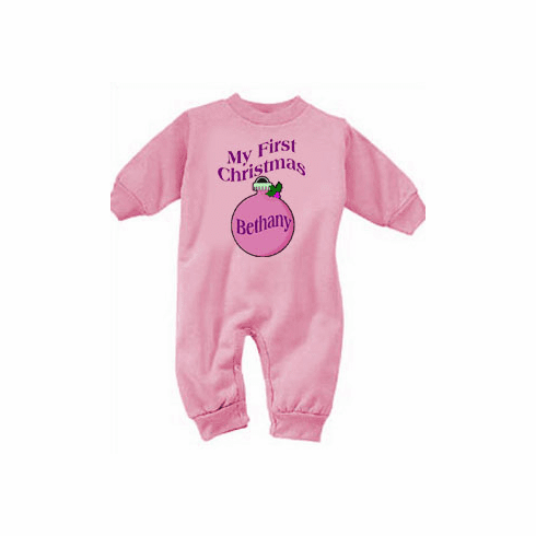 Girl's My First Christmas Personalized Ornament Fleece Romper