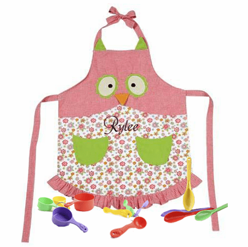 Girls Owl Design Personalized Child's Cooking Apron Set