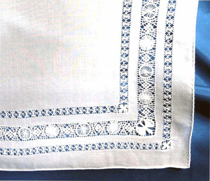 Gorgeous White Cotton Venice Lace Wedding Handkerchief