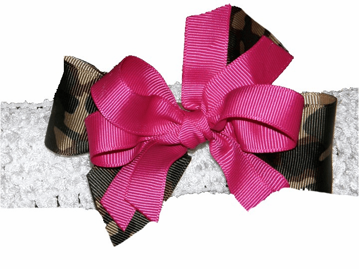 Green Camouflage & Hot Pink Custom Made Hairbow & Headband
