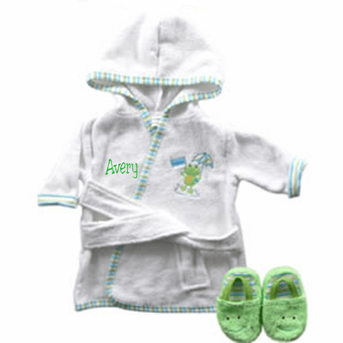 Green Frog Terry Baby Bath Robe & Slippers Set Personalize Me