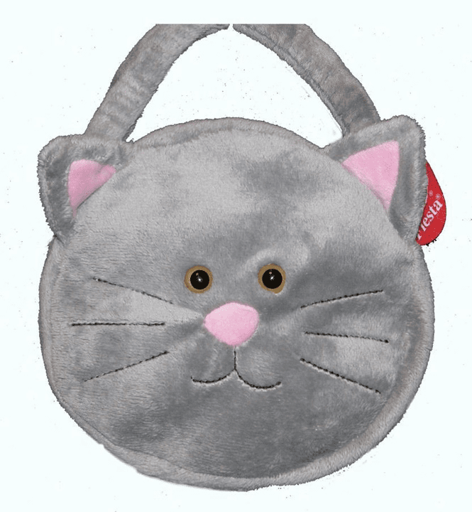 Grey Plush Kitty Purse HandbagTote Bag