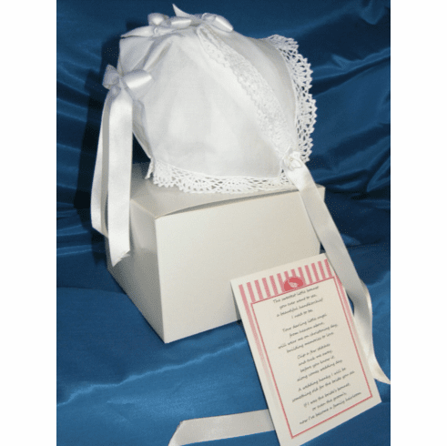 Handcrafted 50's Style Handkerchief Bonnet White