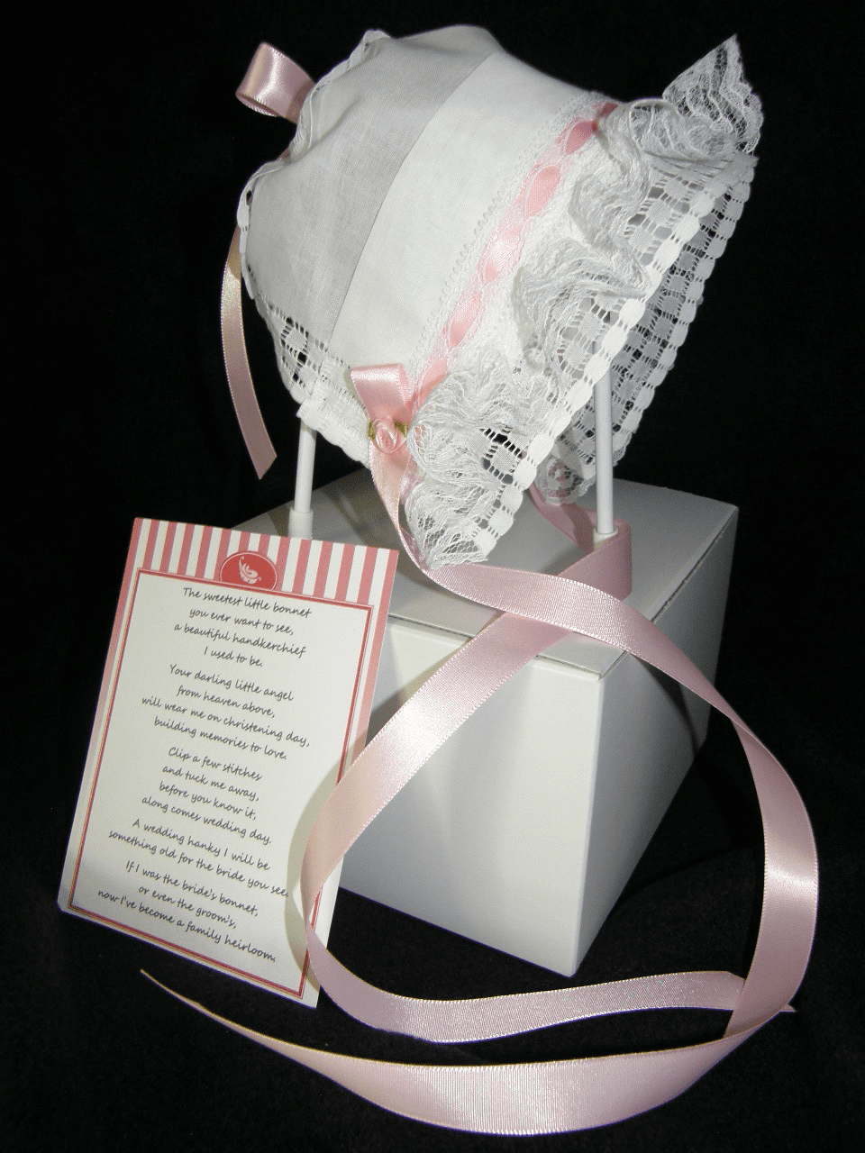 Handkerchief Christening Bonnet Ruffles and Pink Ribbon
