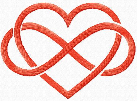 Heart Infinity Knot Handkerchief Embroidery Design hank1