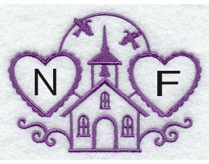 Hearts & Church Handkerchief Embroidery Design hank19