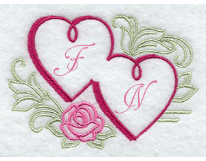 Hearts & Roses Embroidered Handkerchief Design hank26
