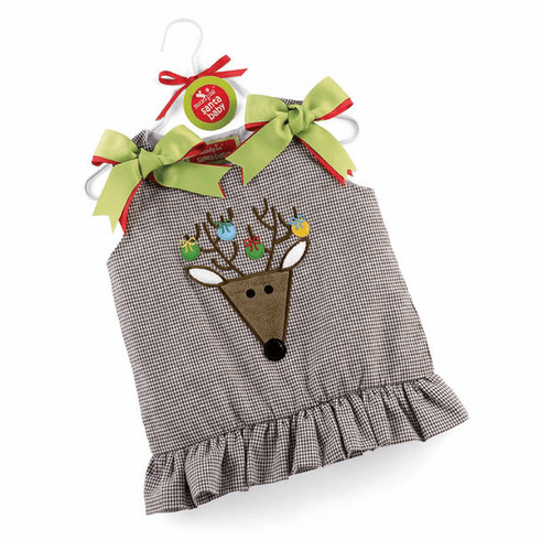 Holiday Reindeer Brown Gingham Jumper Dress