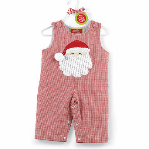 Holiday Santa Red Gingham Overalls