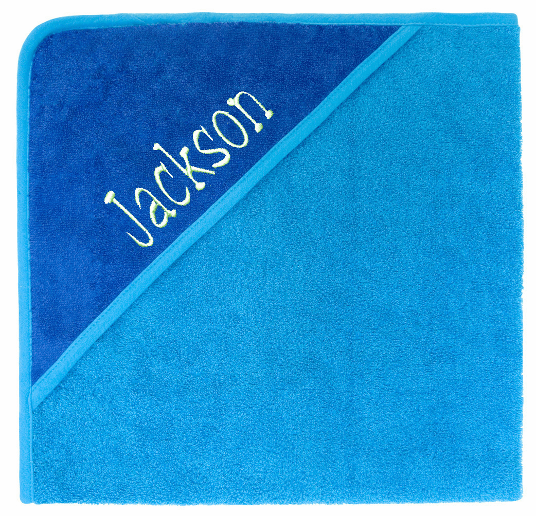 Hooded Infant Baby Bath Towel Cobalt/Sea Personalizable