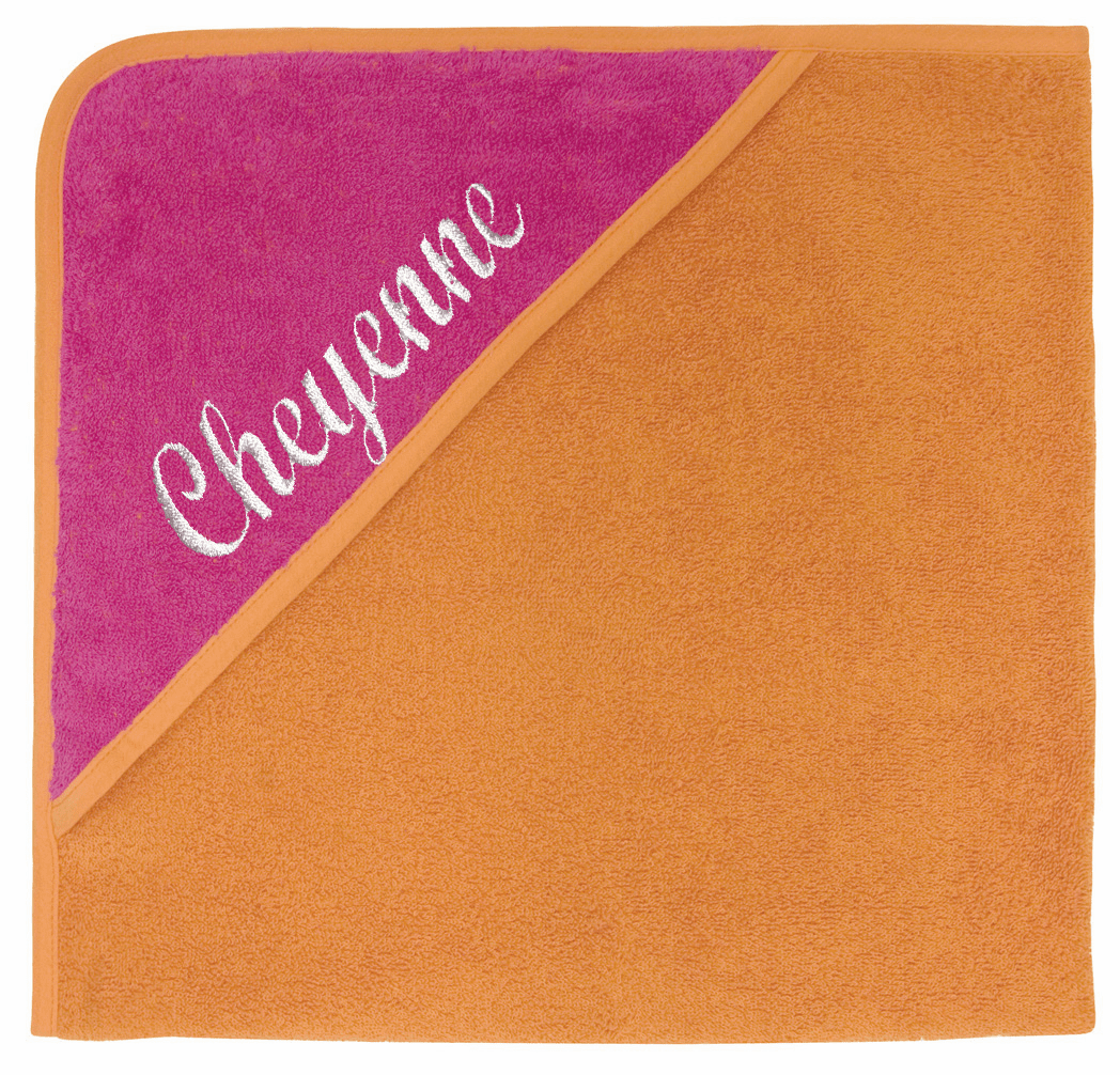 Hooded Infant Baby Bath Towel Hot Pink & Orange Personalizable