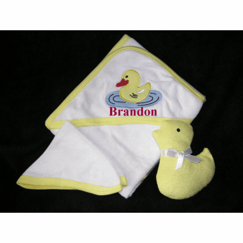 Hooded Infant Towel, Wash Cloth & Terry Toy Set -  Personalize Me