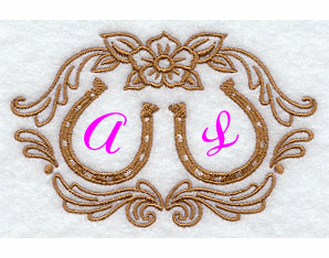 Horseshoes Wedding Handkerchief Embroidery Design hank22