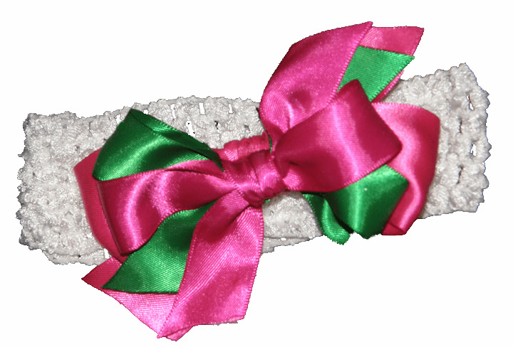 Hot Pink & Green Satin Custom Made Hairbow on White Crocheted Headband