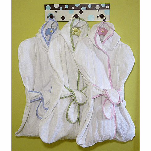 Infant Hooded Terry Baby Bath Sack Gingham Trim Personalize Me