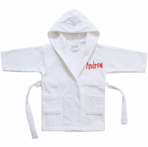 Kids Sized Robe Cover-up Vivid White Terry Velour Personalize Me!